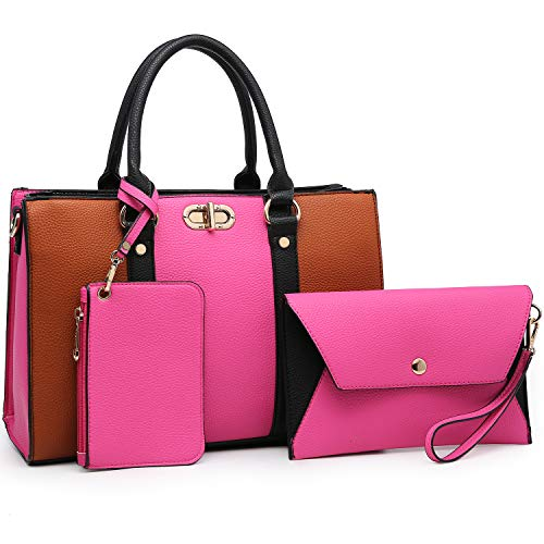 MMK Women handbags Top handle Satchel bags for Ladies Set Vegan Leather purse/wallet(3 pieces set) (8010-Fuchsia/Brown)