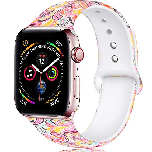 Laffav Compatible with Apple Watch Band 40mm 38mm, Soft Replacement Pattern Band Strap for iWatch Series 4, Series 3, Series 2, Series 1, Paisley Pattern, S/M