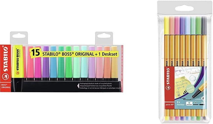STABILO BOSS Marcador Original - Set de mesa con 9 fluorescentes y 6 pastel + Rotulador puntafina point 88 - Estuche con 8 pastel