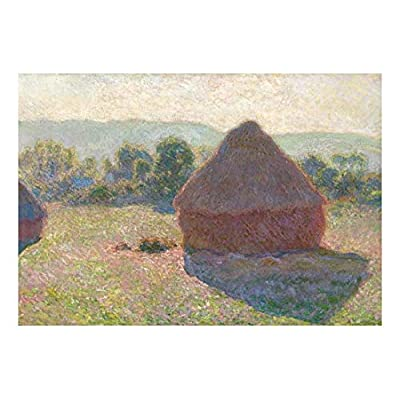 Grainstacks by Claude Monet - French Impressionism - Plein Air Landscape - Peel and Stick Large Wall Mural, Removable Wallpaper, Home Decor - 66x96 inches