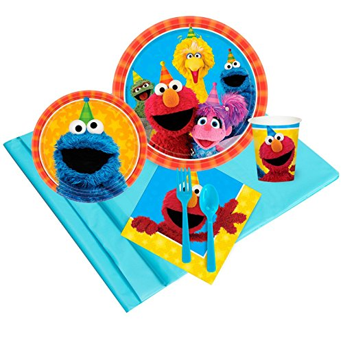 Sesame Street Party Pack for 8 by Amscan Includes Desert Plates, Beverage Napkins, Cups, Table Cover and Table (Sesame Street Party Big Bird Lunch Napkins)