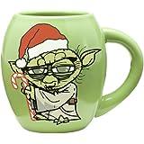 Vandor 99162 Star Wars Yoda Holiday 18 oz Oval Ceramic Mug, Green, Red, and White