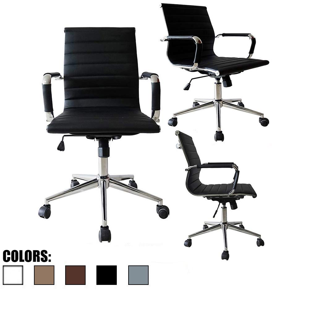 2xhome Mid Century Office Chair with Arms Wheels Modern Desk Chair Ergonomic Executive Chair Mid Back PU Leather Arm Rest Tilt Adjustable Height Swivel Task Computer Conference Room (Black) by 2xhome
