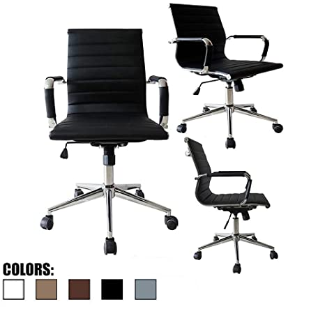 Magnificent 2Xhome Mid Century Office Chair With Arms Wheels Modern Desk Chair Ergonomic Executive Chair Mid Back Pu Leather Arm Rest Tilt Adjustable Height Ocoug Best Dining Table And Chair Ideas Images Ocougorg