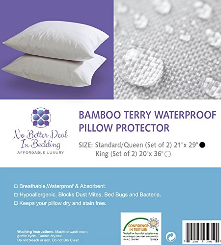 Bamboo Terry Pillow Protector Proof Hypoallergenic Eco friendly No product image