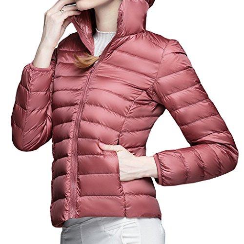 Lunga Calda Invernale Moda Cappuccio Autunno Giacche Elegante Donna Slim Rosa Con Cappotto Giubbotto Manica Giacca Piumino Yeesea fHEPBq