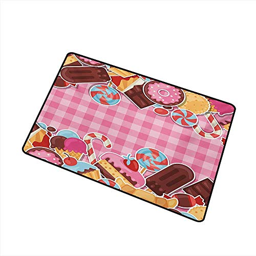 - Axbkl Front Door Mat Large Outdoor Indoor Ice Cream Candy Cookie Sugar Lollipop Cake Ice Cream Girls Design W16 xL20 Quick and Easy to Clean