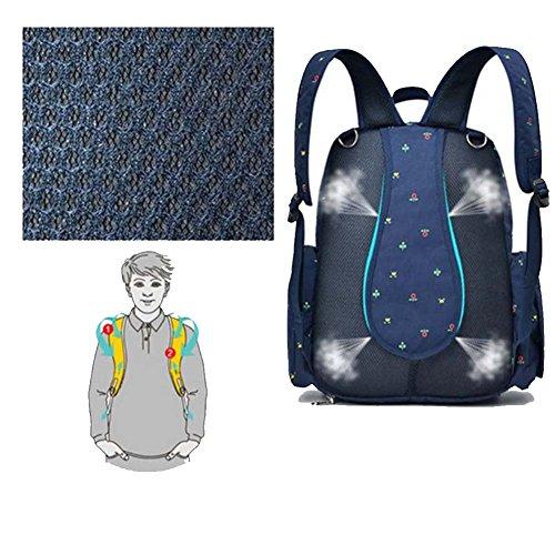 16bolsillos organizador de bebé bolsa de pañales resistente al agua multifunción Oxford tela mochila de viaje con cambiador y welkey cochecito correas azul azul oscuro Dark Black