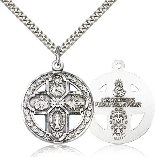 24 Chain Sterling Silver 4-Way Pendant
