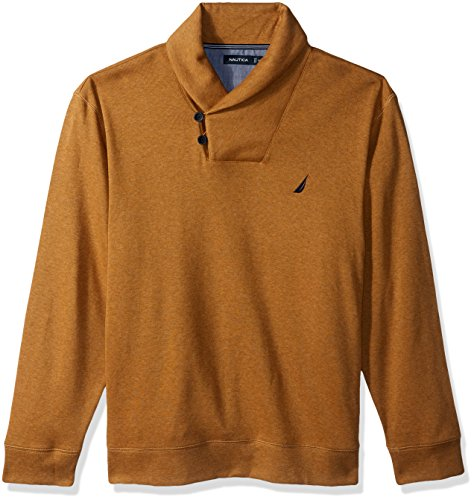 Nautica Men's Long Sleeve Shawl Collar Pullover, Caramel Heather, Large (Nautica Sweater Men)