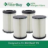 dirt devil filter f3 - 4 - Dirt Devil F3 Washable HEPA Replacement Filters, Part # 3-250435-001. Designed by FilterBuy to fit Dirt Devil Breeze and Dirt Devil Jaguar Breeze Vacuums