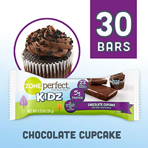Zoneperfect Kidz Nutrition Bars, No Artificial Flavors or Colors, Chocolate Cupcake, 1.23 Oz, 30Count