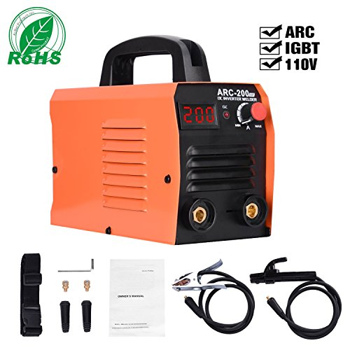 ARC Welding Machine, 110V, 200Amp Power, IGBT AC DC Beginner Welder With LED Digital Display Use Welding Rod Equipment Tools Accessories …