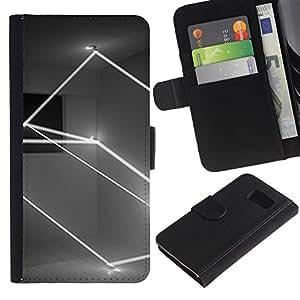 Billetera de Cuero Caso Titular de la tarjeta Carcasa Funda para Samsung Galaxy S6 SM-G920 / Lightshow Rectangle Black White / STRONG