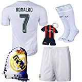 (US) KID BOX 2015/2016 Real Madrid #7 Ronaldo white Soccer Football Jersey Sportswear Team Polo Shirt & Short & Sock & Key Chain & Soccer Bag FOR Kids 3-14 Years