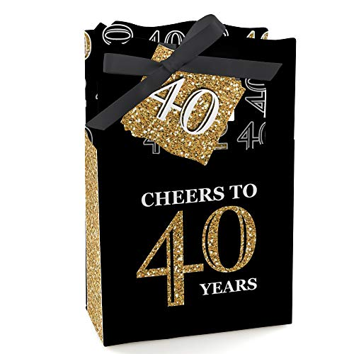(Adult 40th Birthday - Gold - Birthday Party Favor Boxes - Set of 12)