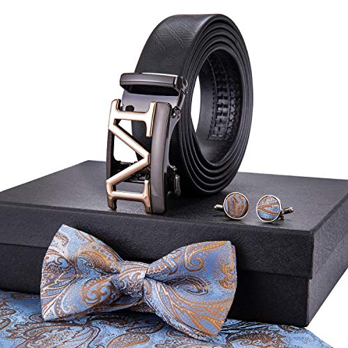 Necktie Gift Set for Mens, Black Leather Belt Automatic Buckle Cufflinks and Tie Set for Business