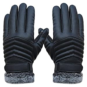 Winter Men Gloves Outdoor, Lowprofile Cashmere Thermal Gloves Men Leather Touch Screen Sports Anti Slip Gloves