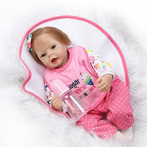 Pursue Baby Cute Soft Body Vinyl Lifelike Baby Doll Opened Mouth Sugar, 20 Inch Gentle-Touch Real Looking Newborn Baby Girl Infant Doll with - Real Glasses Looking Fake