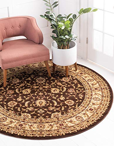 Rug Round Brown Oriental (Unique Loom Voyage Collection Traditional Oriental Classic Brown Round Rug (6' x 6'))