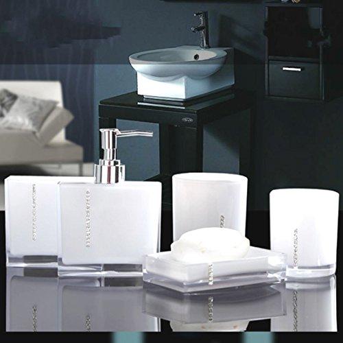 5PC/Set Acrylic Bathroom Accessories Bath Cup Bottle Toothbrush Holder Soap Dish (White color) (Halloween Store Portland Oregon)