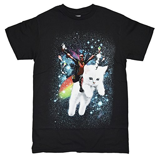 Marvel Deadpool Space Trip Unicorn Kitty Adult T-Shirt (Medium, Black)