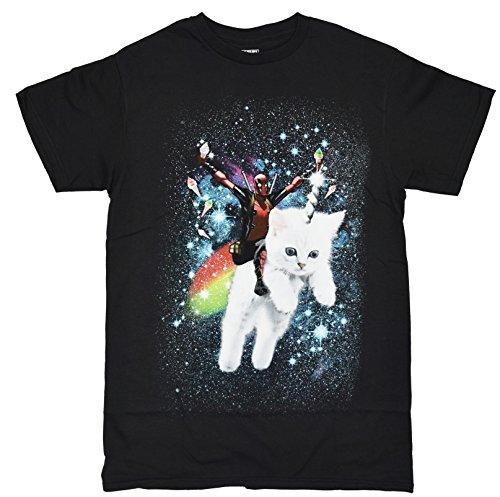 Marvel Deadpool Space Trip Unicorn Kitty Adult T-Shirt (Medium, Black)