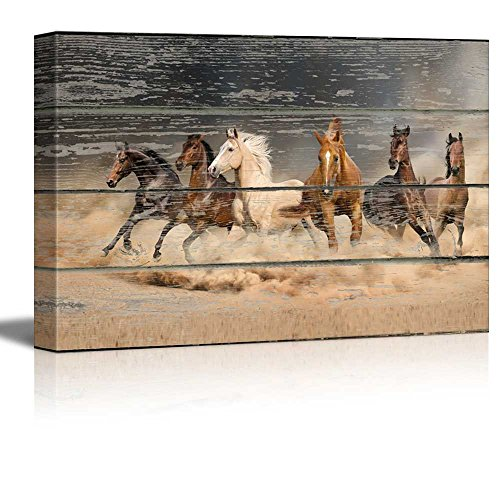 wall26 - Canvas Wall Art - Galloping Horses on Vintage Wood Textured Background - Rustic Country Style Modern Giclee Print Gallery Wrap Home Decor Ready to Hang - 16
