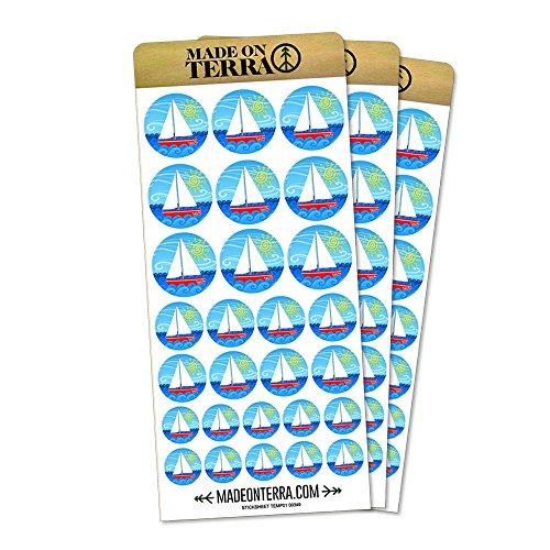 Sailboat on The Lake Removable Matte Sticker Sheets Set