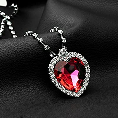 iLH® Clearance Deals Classic Luxury Women Heart Crystal Rhinestone Silver Chain Pendant Necklace Jewelry Romantic Gift by ZYooh