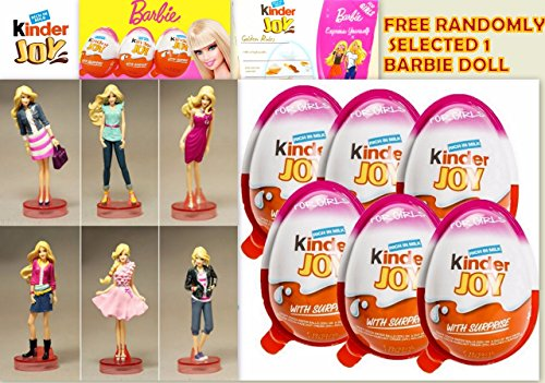 Barbie Surprise Figurine with Chocolate Kinder Joy for Girls with Surprise Inside (6-Pack)