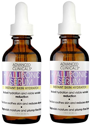 Two piece set. Advanced Clinicals Hyaluronic Acid Face Serum. Anti-aging Face Serum- Instant Skin Hydrator, Plump Fine Lines, Wrinkle Reduction. 1.75 Fl Oz (two). Go Instant Smoother