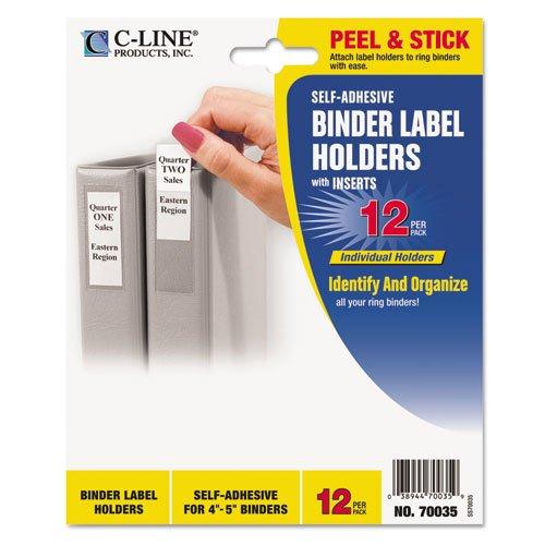 Self Label Adhesive Binder (CLI70035-C-Line 70035 - Self-Adhesive Ring Binder Label Holders, Top Load, 2 1/4 x 3, Clear, 12/Pack)