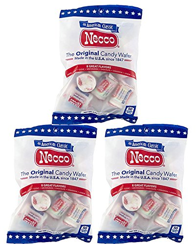 Set of 3 - 4oz Bags of Original Candy Wafers by Necco - Retro & Nostalgic Hard Candies - Includes Assorted Flavors Such as Orange, Lemon, Lime, Clove, Chocolate, Cinnamon, Licorice and Wintergreen! by Necco