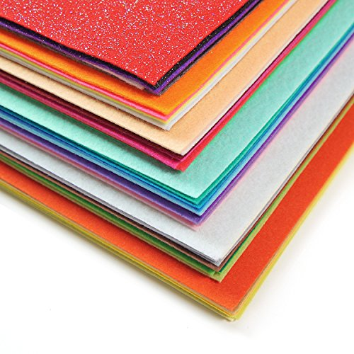 ARTEZA 50 Assorted Stiff Felt Fabric Sheets, 8.3''x11.8'' Squares, 1.5mm Thick for DIY Crafts, Sewing, Crafting Projects by ARTEZA (Image #1)