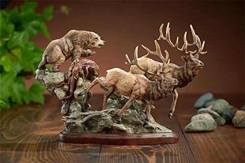 Wild Wings Encounter - Elk & Bear Sculpture by Danny Edwards ()