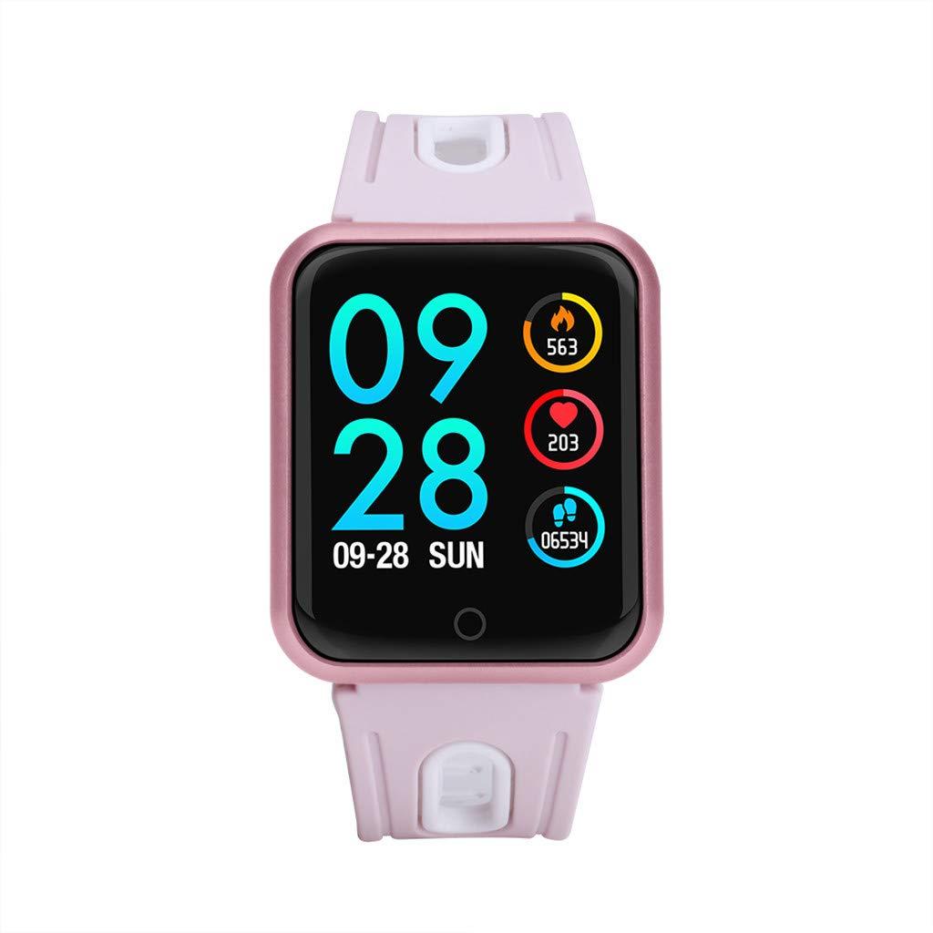 Women's Bluetooth Smart Watch Heart Rate Blood Pressure Monitor Fitness Tracker Bracelet Smart Camera Control Waterproof Lightweight Versatile Smart Wrist Watch (Goddess Powder)