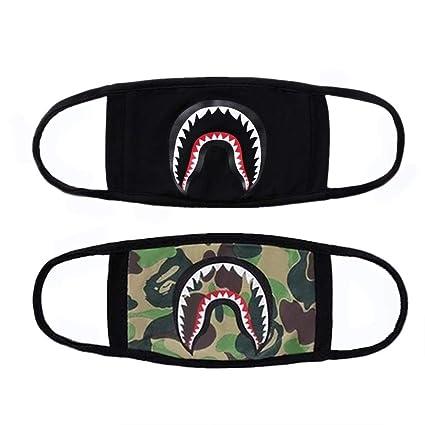 44309fff 2-Pack Shark Face Mask, Bape Cotton Fashion Anti-Dust Half Face ...