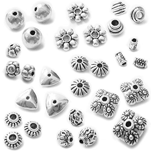 (Heather's cf 268 Pcs Combination Classic Finding Zinc Alloy Tibetan Silver Small Hole Beads Jewelry Findings)