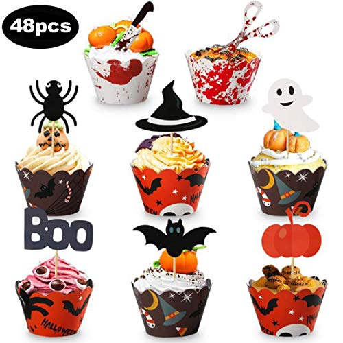 Halloween Cupcake Topper, 48pcs Halloween Cupcake Wrapper Mini Cake Decorations for Halloween Party Supplies Party Favors