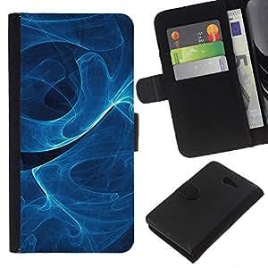 Protector de cuero de la PU de la cubierta del estilo de la carpeta del tirón BY RAYDREAMMM - Sony Xperia M2 - Remolino de humo azul