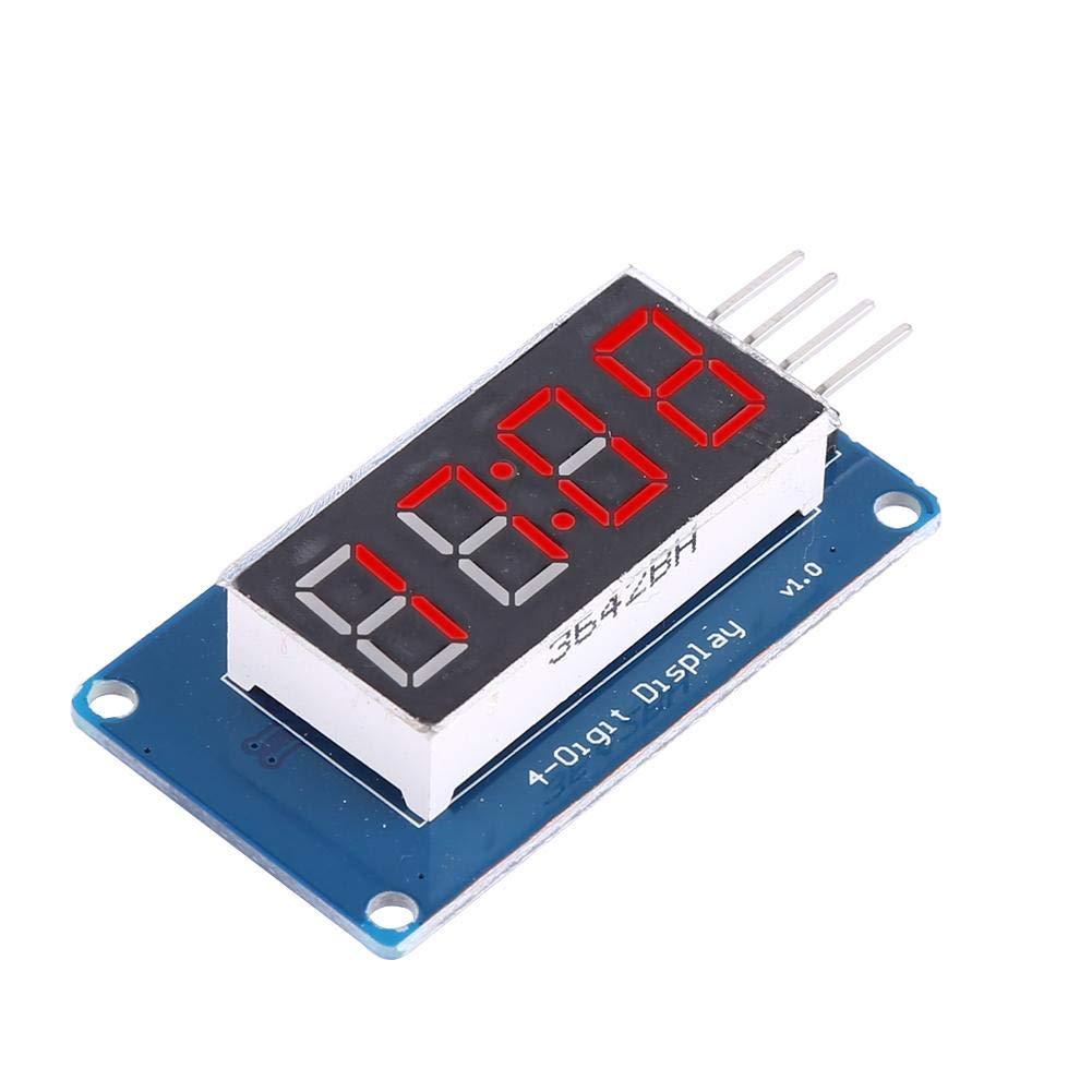 Module daffichage num/érique LED /à 4 chiffres 7 segments Lumi/ère rouge Affichage num/érique LED Luminosit/é r/églable 3,3 V-5,5 V 30 A-80 A