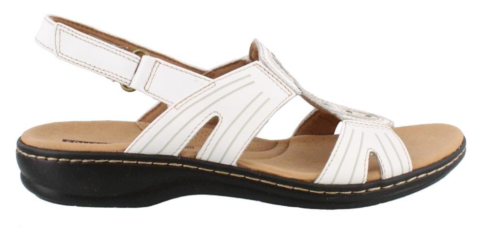 CLARKS Women's Leisa Vine Platform White Leather 8.5 Wide US