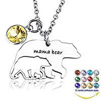 YOUFENG Mom Necklace Mothers Day Gifts Mama Bear Necklaces Pendant 12 Months Birthstone Jewelry for Women Girls
