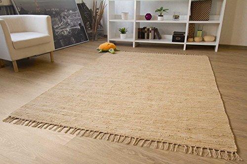 Handwebteppich Indira in Natur - Handweb Teppich aus 100% Baumwolle Fleckerl Waschbar, Größe: 70x140 cm