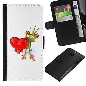 For HTC One M8,S-type® Crown White Love Valentine Valentines - Dibujo PU billetera de cuero Funda Case Caso de la piel de la bolsa protectora