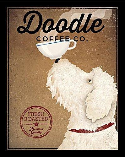 (Buyartforless IF WAP 16723 1.5 Black Plexi Framed White Labradoodle Co by Ryan Fowler 14X11 Dane Coffee Signs Dogs Animals Art Print Poster Wall Decor)
