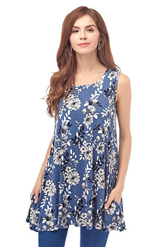 Bearsland Women' Maternity Clothes Sleeveless Comfy Breastfeeding Shirts Nursing Tops,Bluewhite,Medium