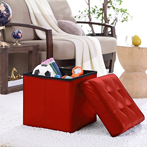 Ellington Home Foldable Tufted Faux Leather Storage Ottoman Square Cube Foot Rest Stool/Seat - 15