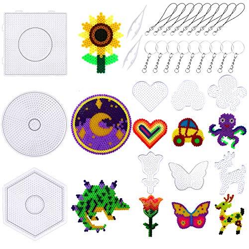 Tableros canutillos hama beads distintas formas c/pinzas